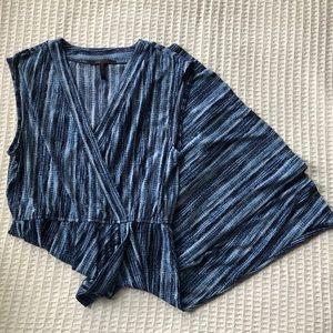 BCBG Blue Printed Cross Front Dress size Large